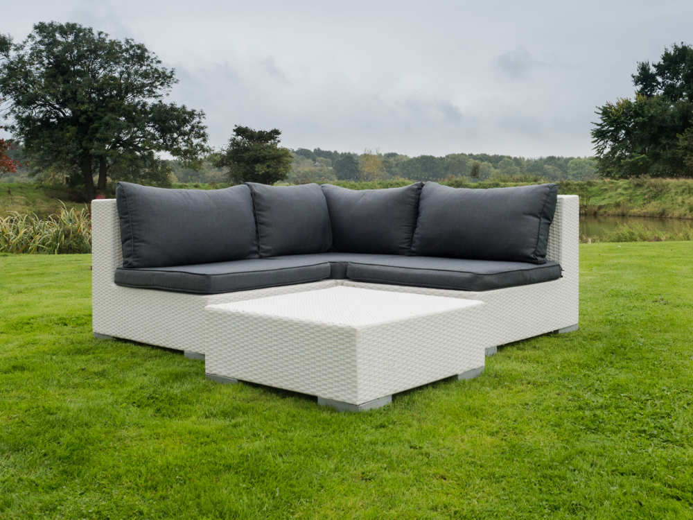 outdoor furniture white. White Rattan Outdoor Furniture With Grey Seat Pads And Cushions